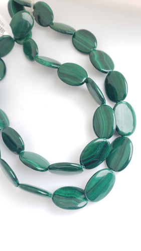 Oval Malachite Gemstone Bead Strand 16