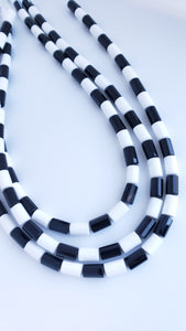 Agate Black and White Faceted Cylinders 8x6mm