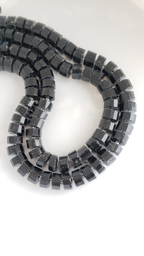 Big Black Tourmaline Rondelle Bead Strand