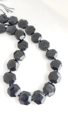 Black Tourmaline Faceted Hexagon Bead Strand