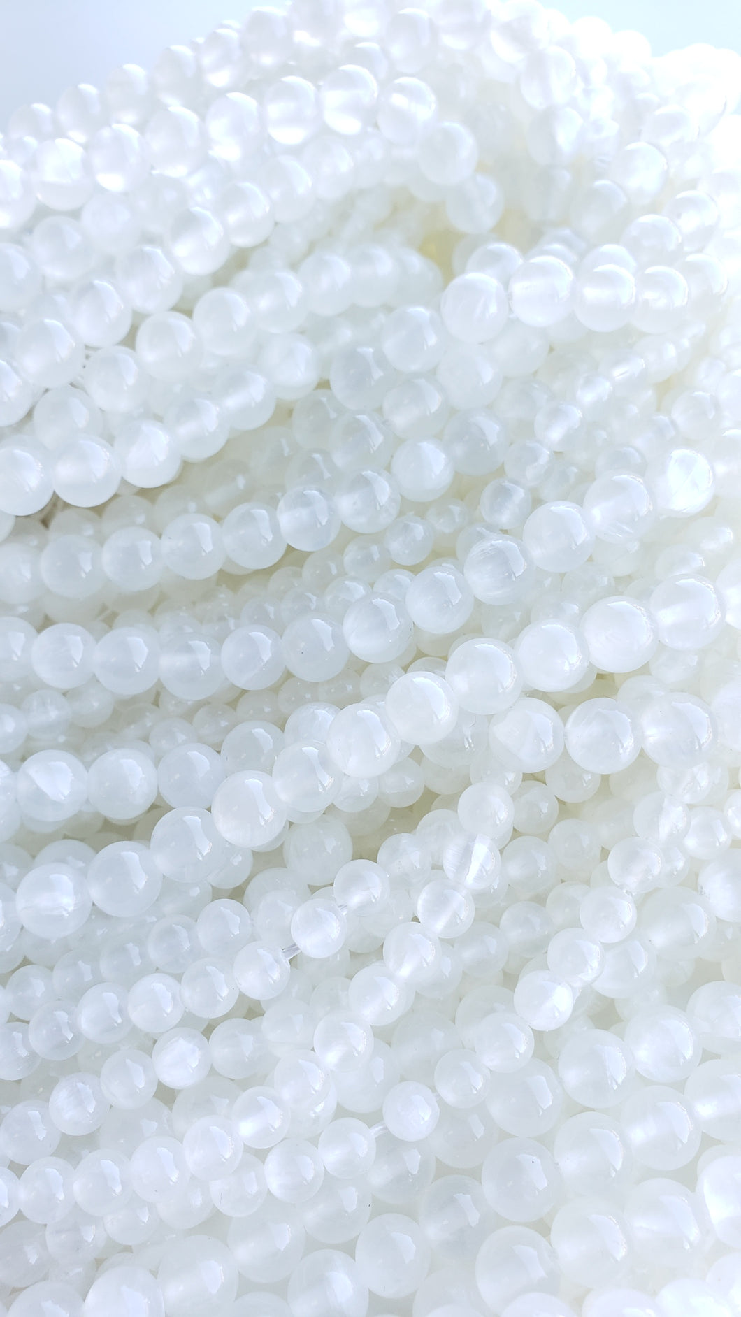 8mm Selenite Bead Strand