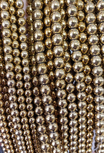 Gold Brass Colour Electroplated Hematite Beads