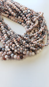 "4mm Pink Zebra Jasper Polished 16"" Strand"