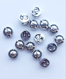 SUN AND MOON BEAD - DOUBLE SIDED PEWTER SPACER BEAD 15PCS