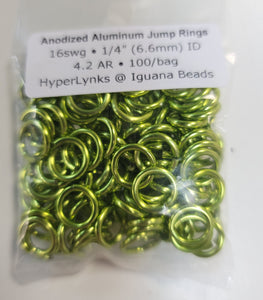 "Jump Rings Annodized Aluminum 16g 1/4""ID 100pcs Lime 6.6mm jump rings"