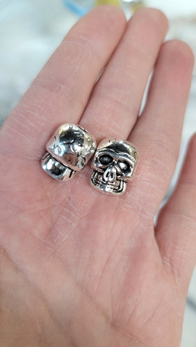 Skull Beads Large Pewter vertical  Drilled  2pcs