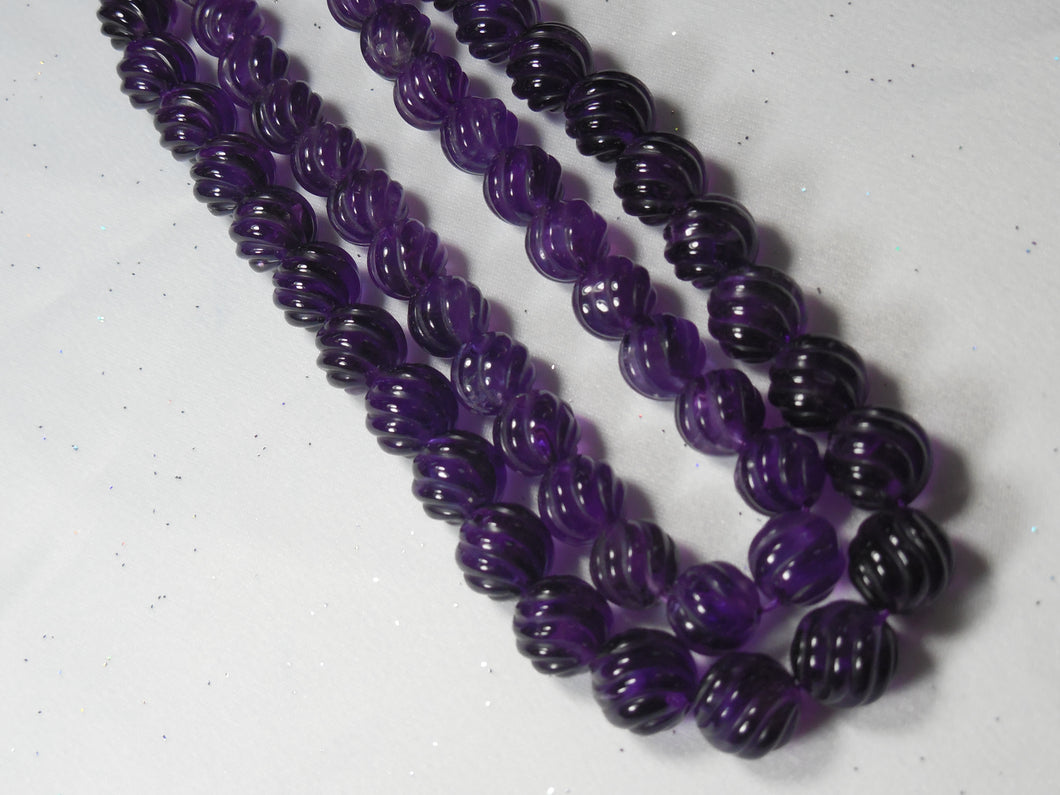 Carved Amethyst Beads Strands