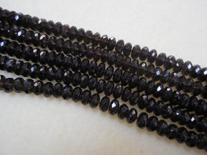 8MM FACETED SMOKEY QUARTZ RONDELLE