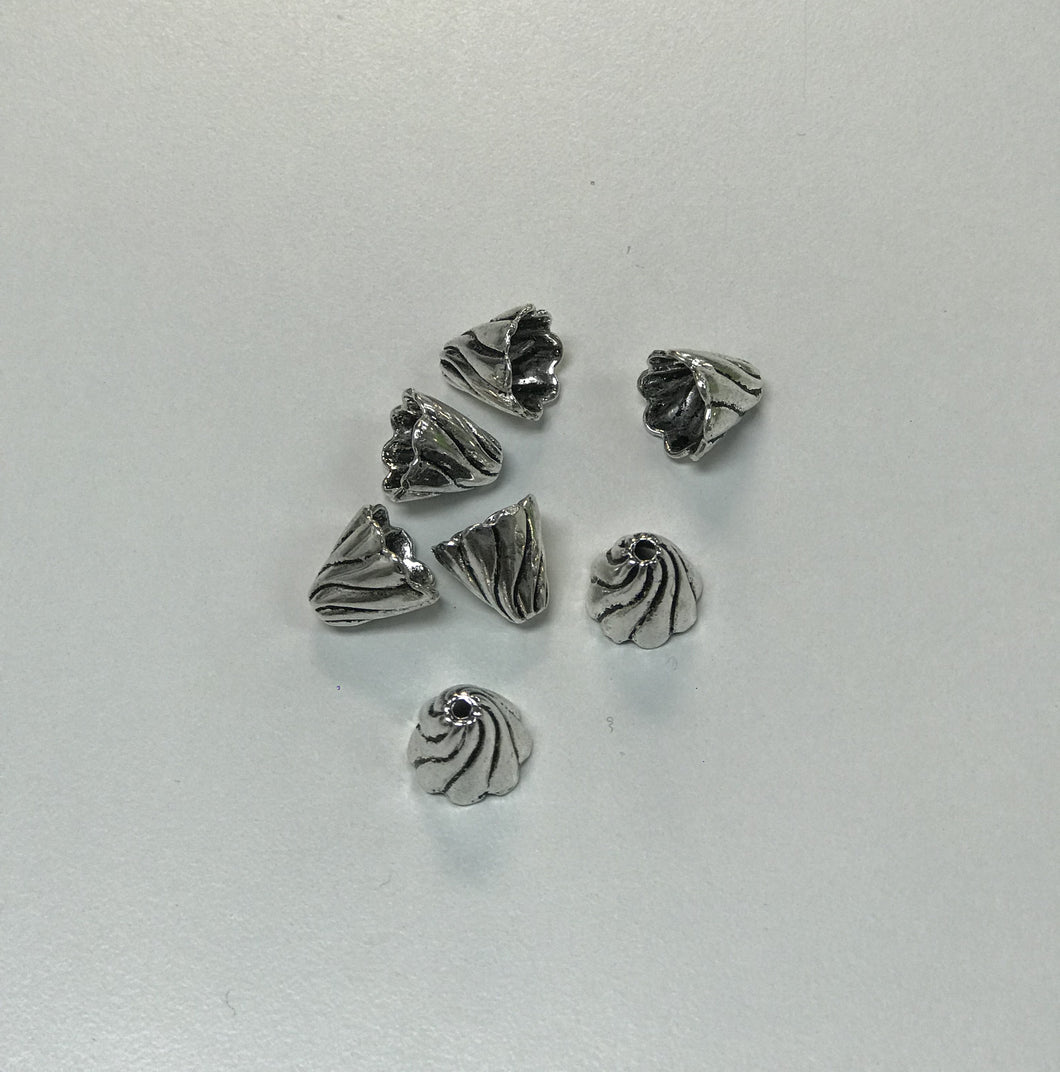 Pewter Cone Ends 8pc Fluted Design