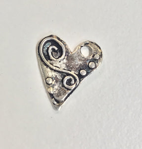 Sterling Silver Charm, Heart with Relief Design