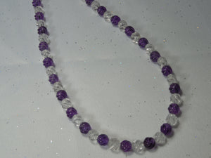 6mm Carved Amethyst & Clear Quartz Beads Strand