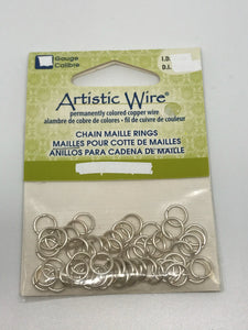 "Jump Rings Artistic Wire SilverPlate 50pcs 18G 7/32""(5.56mm)"