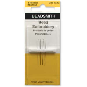 Beading Needles Sizes 10 & 12.  4 pack