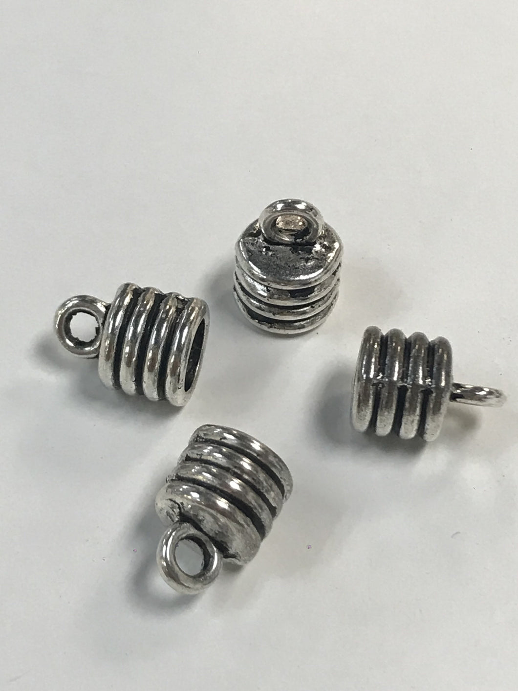 Pewter Cord End Caps 2 Pair 6mm diameter opening
