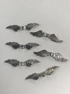 Pewter Angel Wing Beads Top Drilled 20pcs