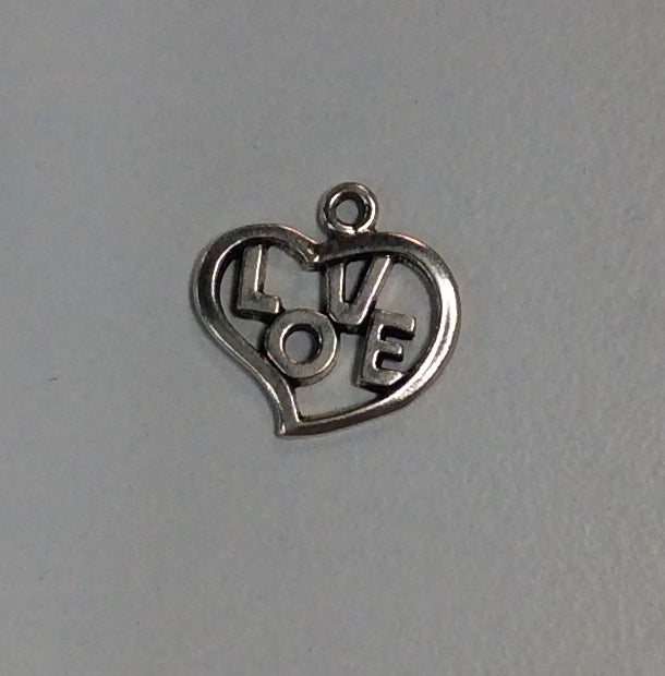 Sterling Silver Charm, Love in a Heart