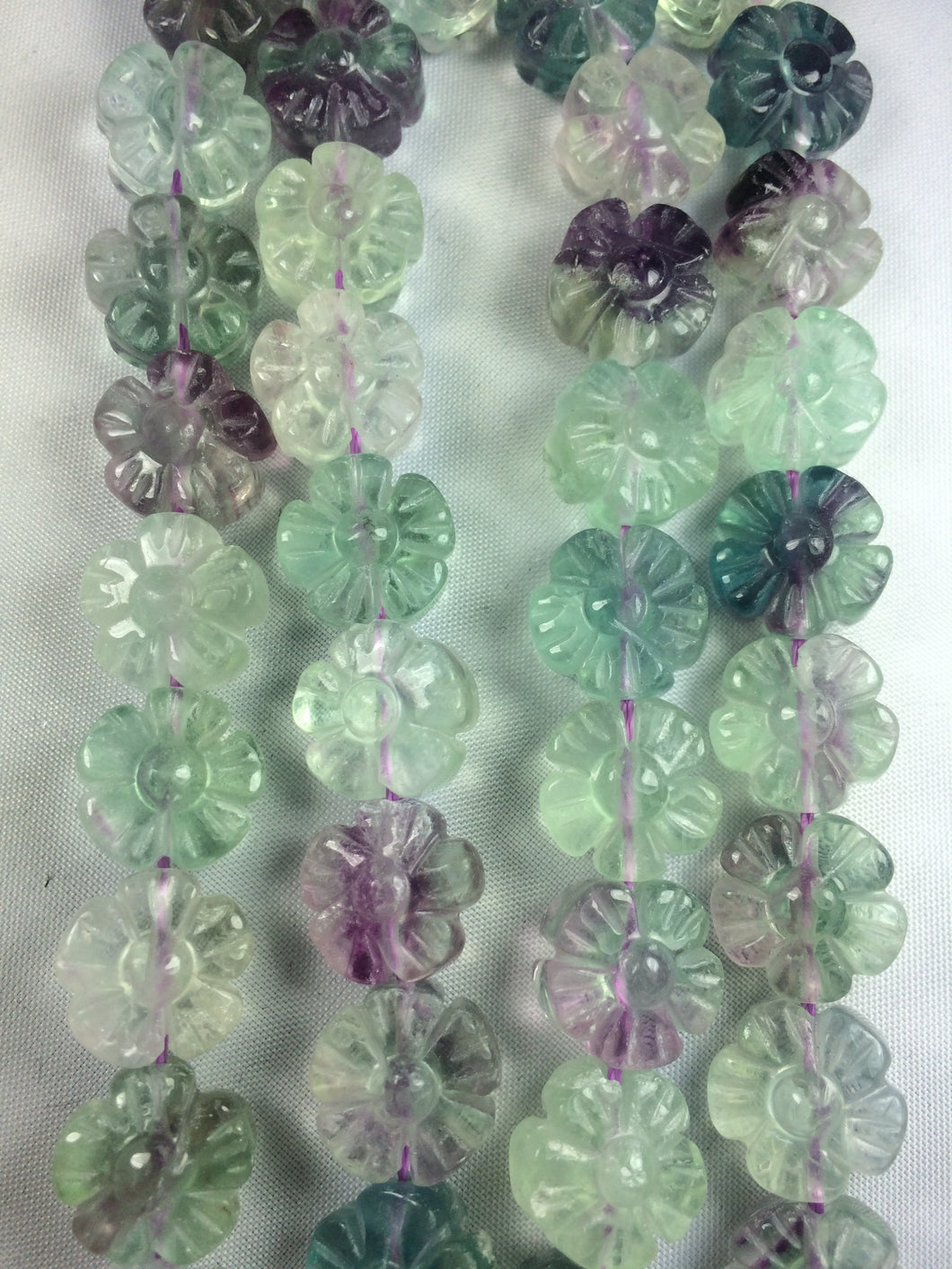 Fluorite Carved Flowers 11mm 15.5