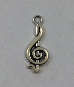 Sterling Silver Charm, Treble Clef Small