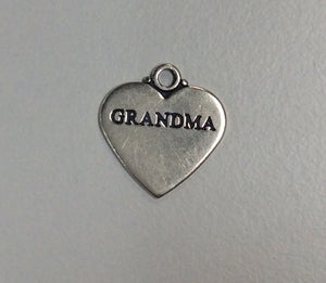 Sterling Silver Charm, Heart with word Grandma