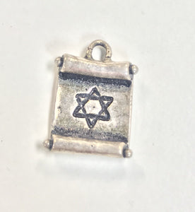 Sterling Silver Charm, Scroll with Star of David