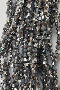 "4MM BICONE CRYSTAL STRAND 17"" METALLIC - CHROME SILVER"