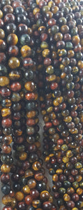 "Tiger Eye Multi-Coloured Faceted 8mm Round 16"" Strand Approx."