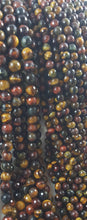 Load image into Gallery viewer, 6mm Tiger Eye Round Multi Coloured blue, golden, and red!