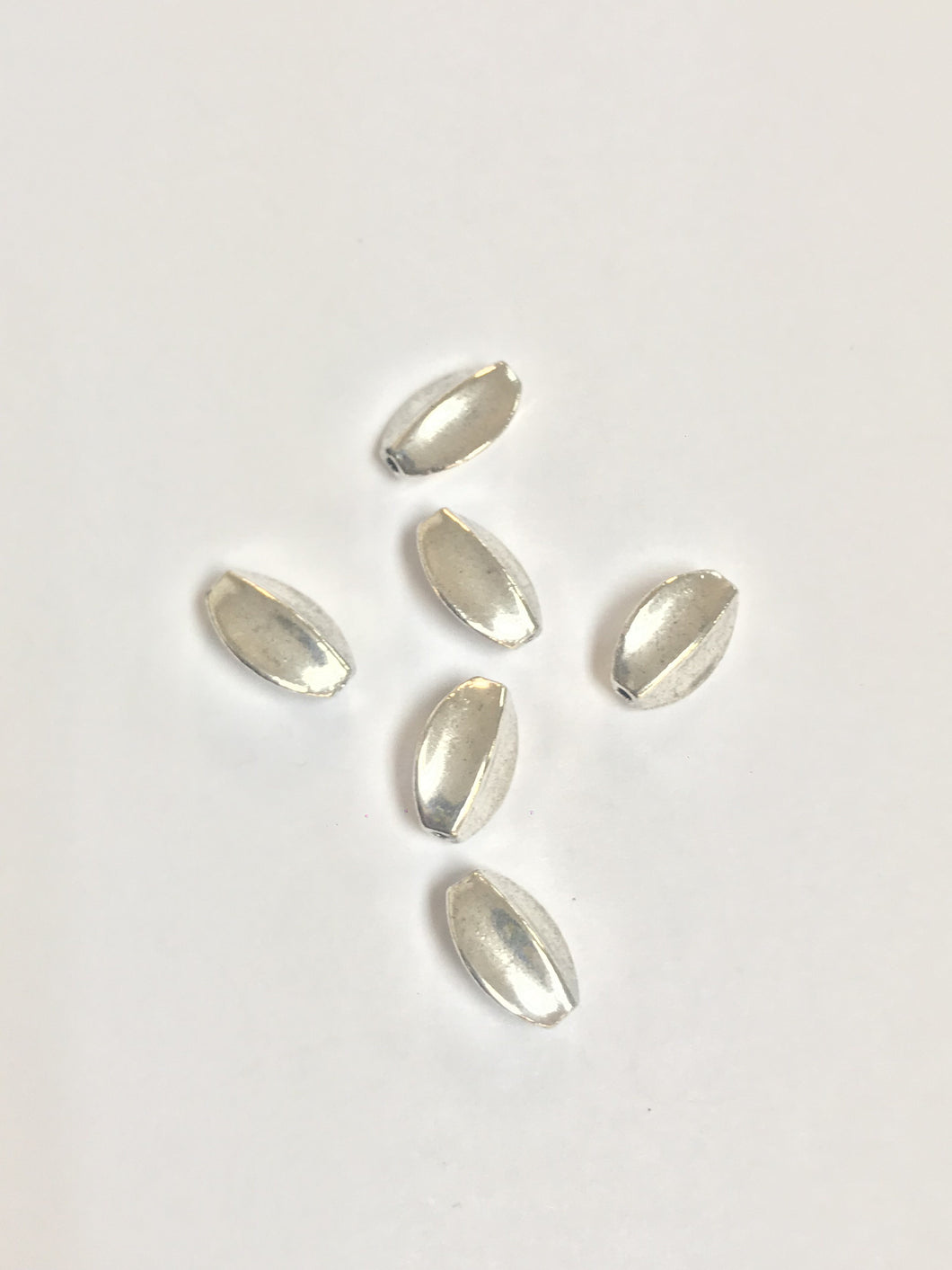 Pewter Beads Ridged Oval 10mmx7mm