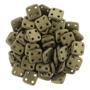 Quadratile Beads 4 Hole Antique Matte Gold 6.8gram