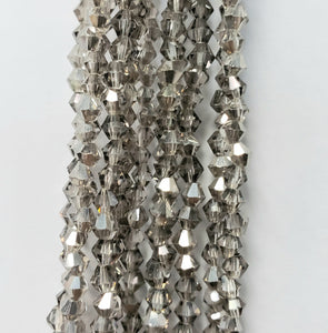 "3MM BICONE CRYSTAL STRAND 18.5"" -  DARK TAUPE WITH SILVER FLASH"