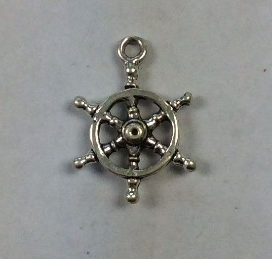 Sterling Silver Charm, Ship Wheel 3D