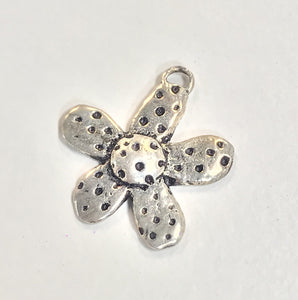 Sterling Silver Charm, Flower with dots