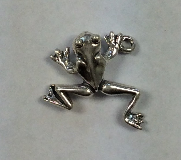 Sterling Silver Charm, Frog 3D