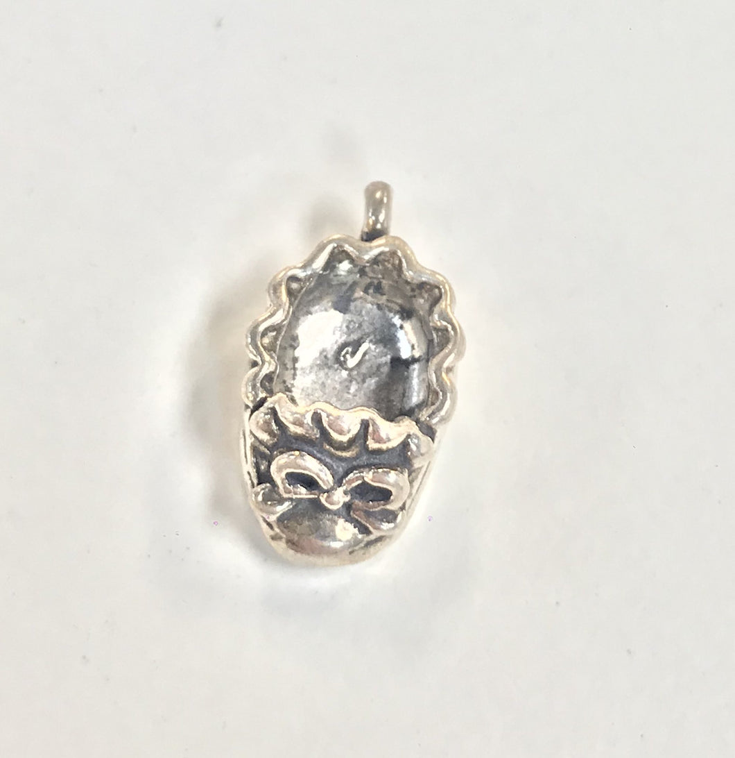 Sterling Silver Charm, Baby Bootie 3D
