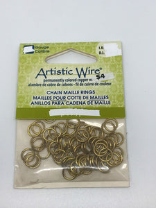 "Jump Rings Artistic Wire Brass 75pcs 18G15/64""(5.95mm)ID"