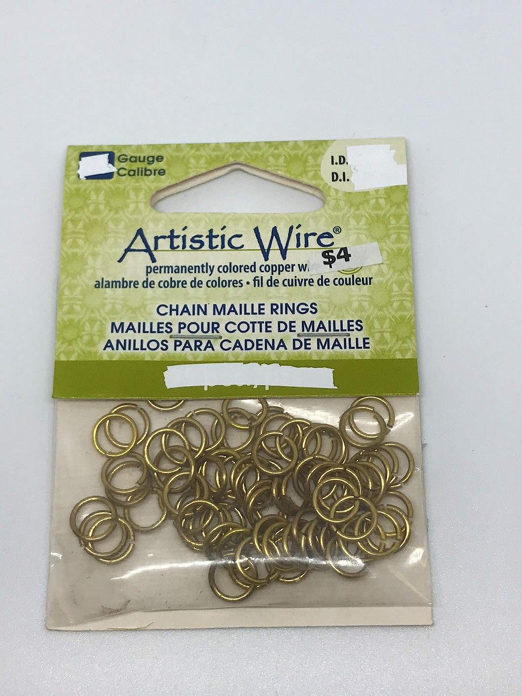 Jump Rings Artistic Wire Brass 75pcs 18G15/64