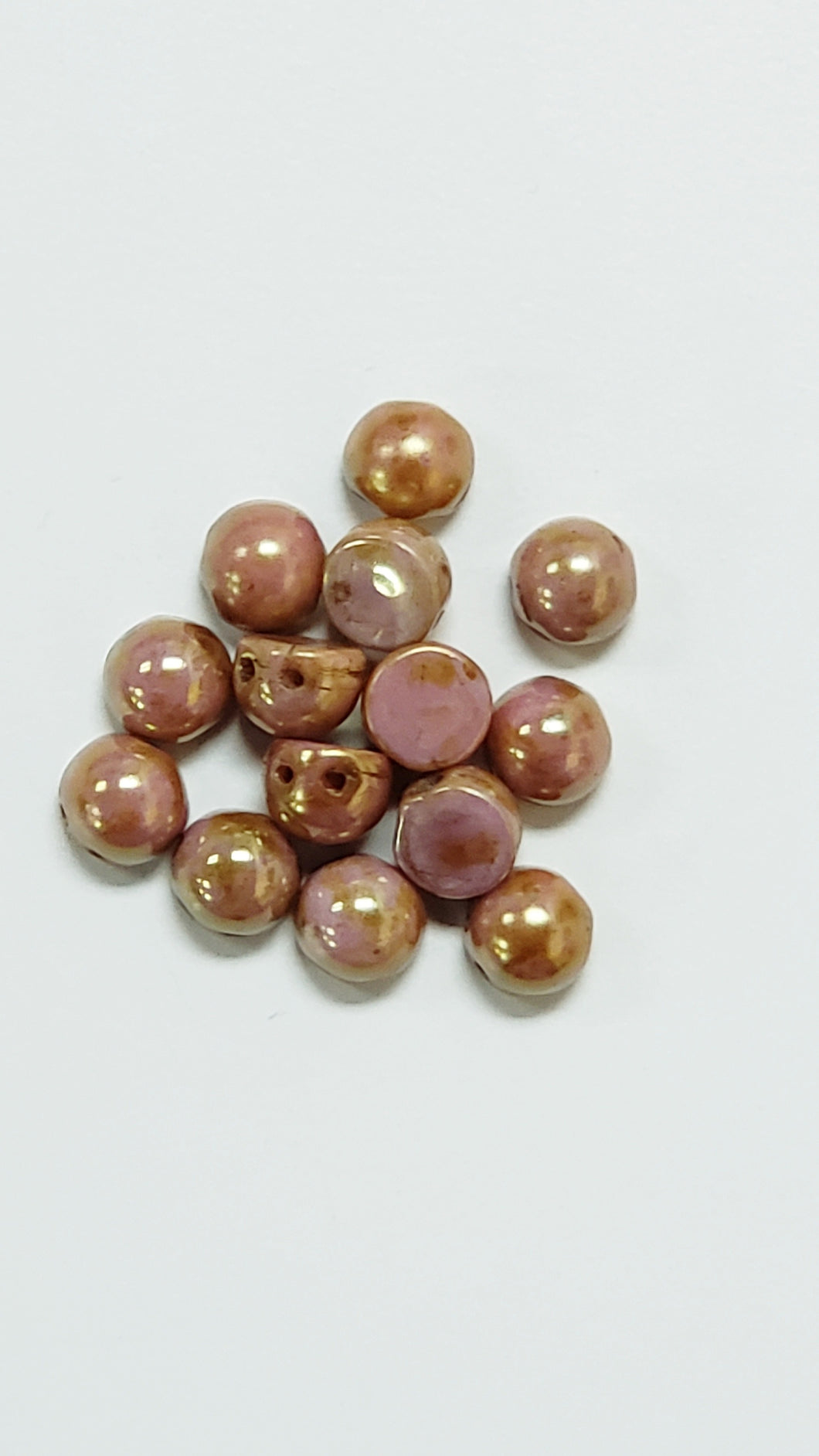 2 Hole Cabochon Rose Gold Topaz 25pcs 7mmD