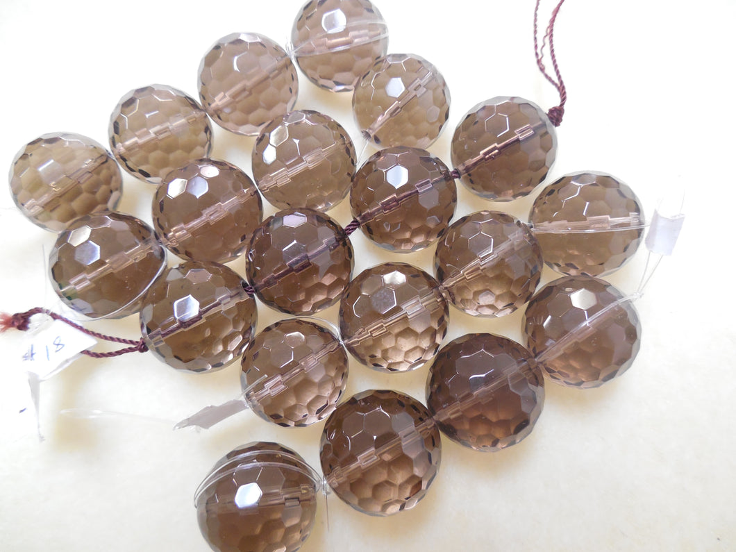 12.5MM FACETED SMOKEY QUARTZ BEADS