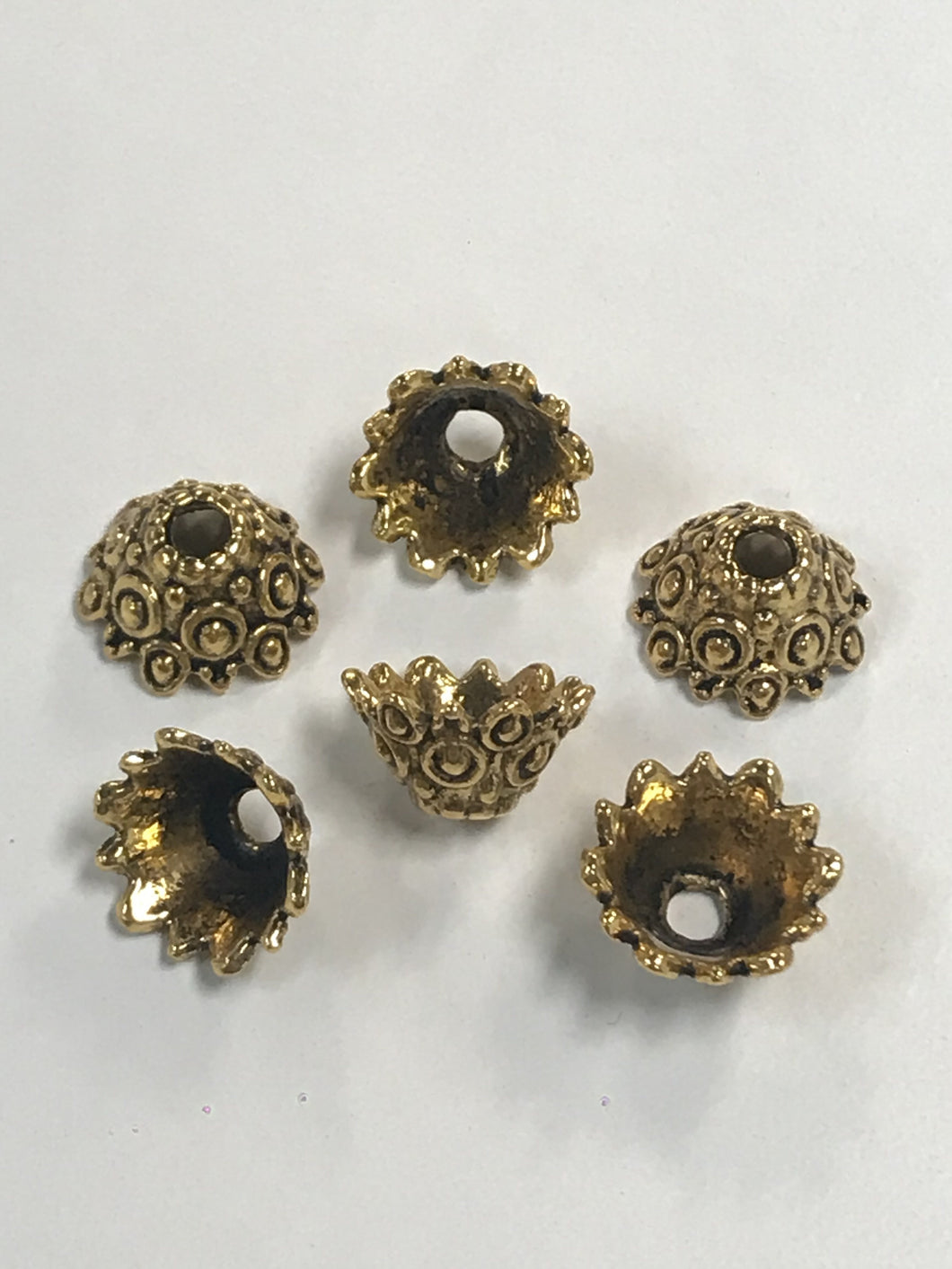 Pewter Gold Beadcaps Ornate with Dot Relief