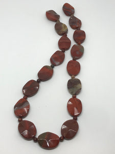Apple Jasper Wavy Carved Oval Bead Strands
