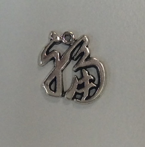 Sterling Silver Charm, Chinese Good Luck Character