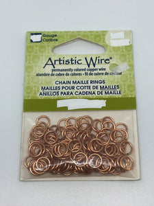 "Jump Rings Artistic Wire Raw Copper 160pcs 18G 9/64""(3.57mm)"