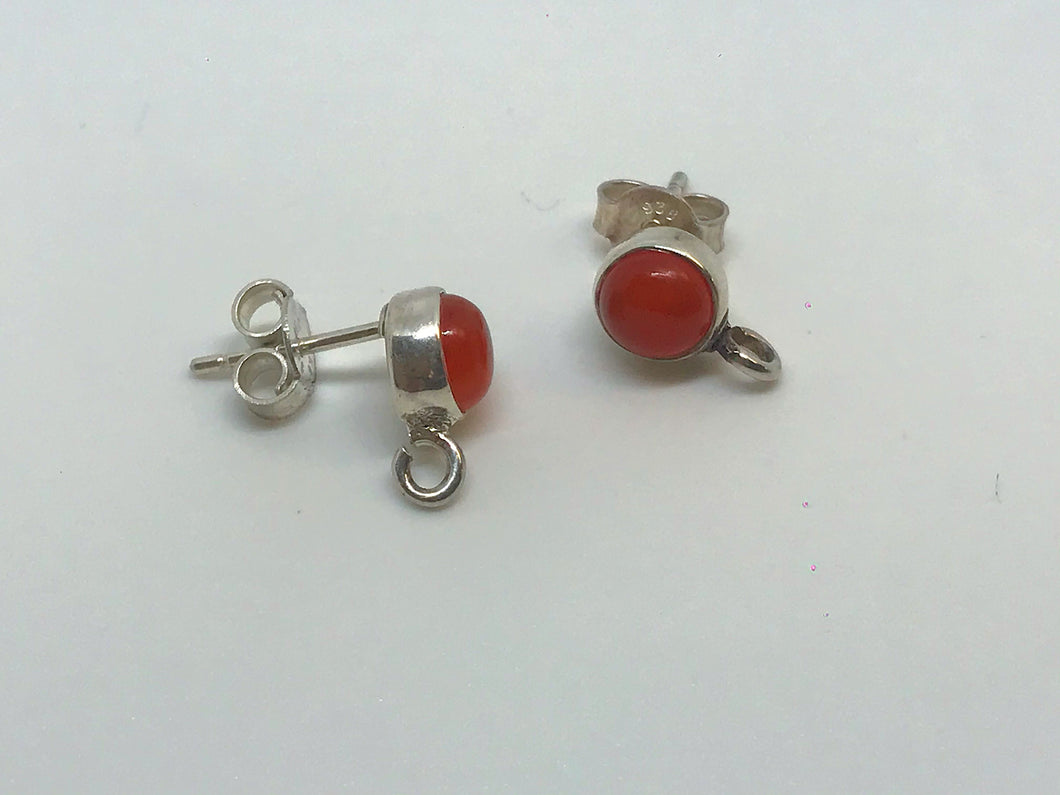 Sterling Earring Posts with 5mm Carnelian 1 pair
