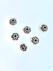 Sterling Rondelle Bali Style Spacer 6x10.5mm