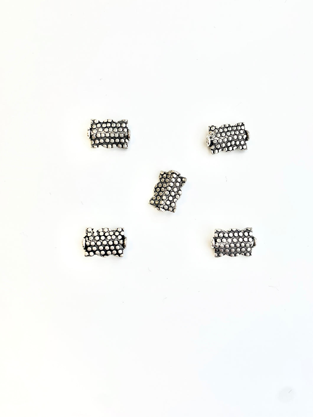 Sterling Flat Rectangle Bead with Dot Motif