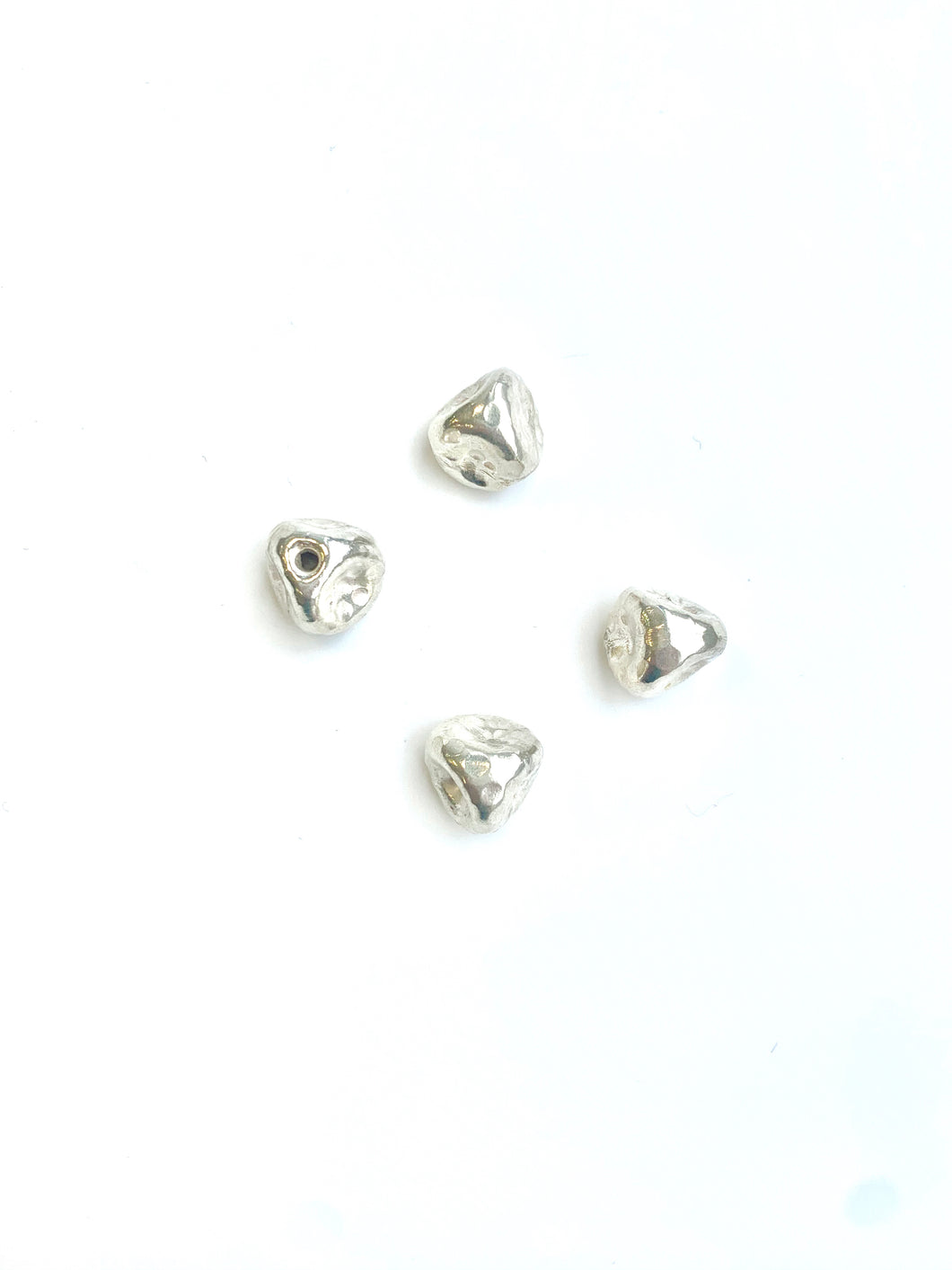 Sterling Bead Hammered & Dimpled 12mm x 13mm