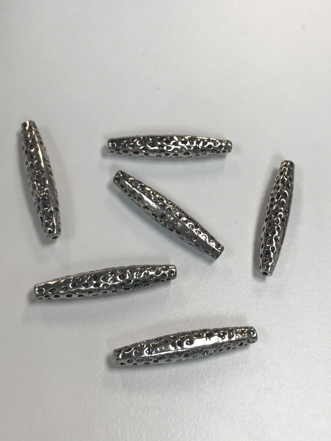 Pewter Quill Beads Shape with Dimpling 34x6mm