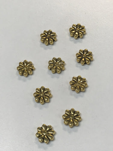 Pewter Goldtone Flower Beads 2D 9mm