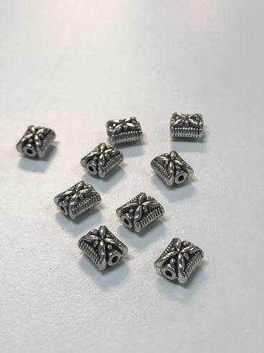 Pewter Beads Ornate 2 sided Square 10mmx8mm