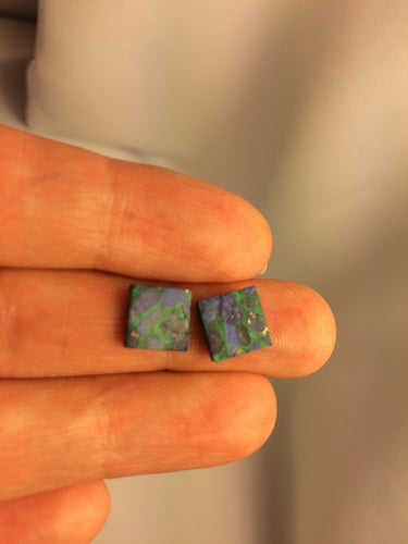 Cabochon Chrysocolla 8mm Square 1 pc
